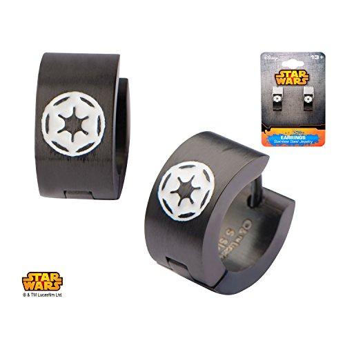 Women's Stainless Steel Star Wars Black PVD Enamel Filled Imperial COG Logo Huggie Earrings