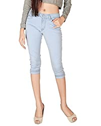 Focus Women's Slim Fit Silky Stertchable Denim Capri-44