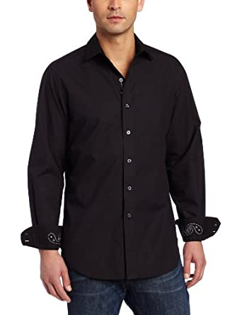 Robert Graham Men's Tye Shirt, Black, Medium