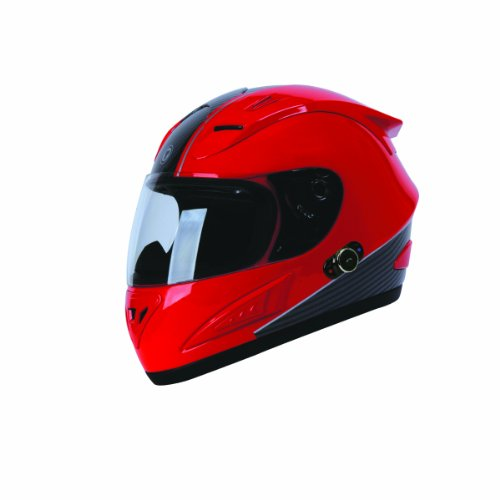 TORC T10B Prodigy Full Faced Helmet with Blinc 2.0 Stereo Bluetooth Technology and 'Absolute' Graphic (Red, Medium)