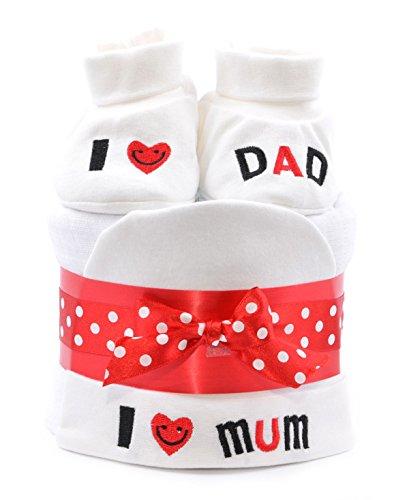 Unisex bambino Mini torta di pannolini-I Love Mum/Dad Rosso Bianco Boy Girl neutra consegna veloce