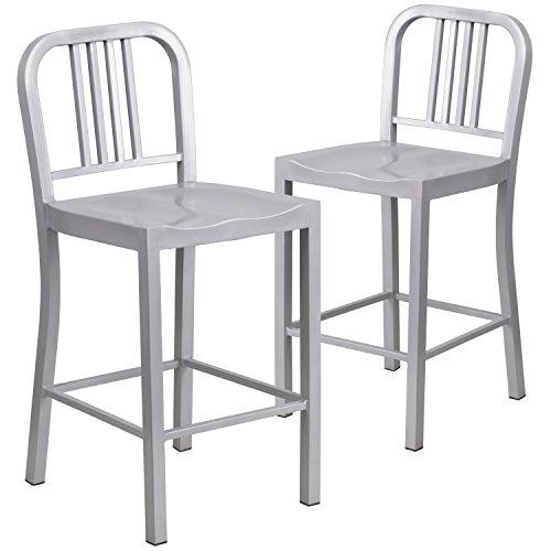 Flash Furniture High Silver Metal Indoor Outdoor Counter