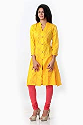 SPAN Girls Cotton YELLOW Kurta (Large)