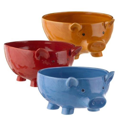 Grasslands Road Piggy Pigs Serving Bowls Ceramic Set Of 3