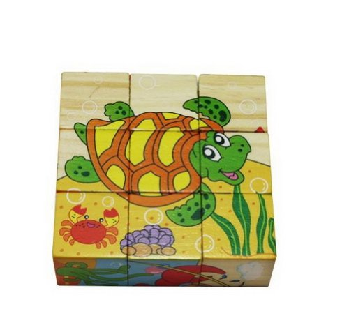 Simple Wood Building Blocks for Infant and Toddle, 9Pcs Sea Animal Puzzle Blocks - 1