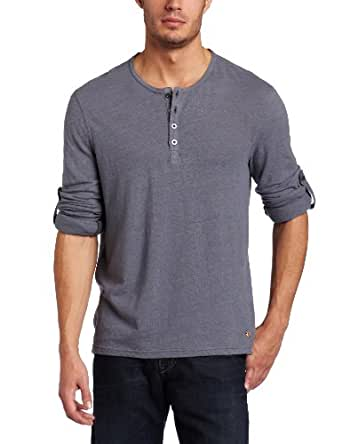 Converse By John Varvatos Men's Long Sleeve Button Cuff Henley, Blue Stone, Medium