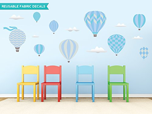 Sunny Decals Hot Air Balloons Fabric Wall Decals, Standard, Blue
