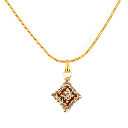 Diwali Offer- Gold Plated Chain Free with Elegant & Stylish CZ Diamond Simulated Red & Green Pendent (multicolor)