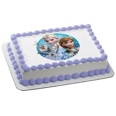 "2"" Round (12 Included) Disney's Frozen Olaf, Anna, and Elsa Edible Icing Image Cake Decoration Topper - 1"