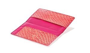 Travel Smart RFID Faux Patent Leather Passport Wallet, Coral Crocodile