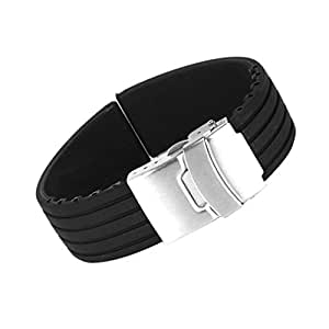 Black Silicone Rubber Watch Strap Band Deployment Buckle Waterproof 20mm