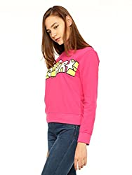 Vvoguish Pink Star Printed Sweatshirt-VVSWTSHRT931PNK-XL