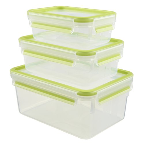 Emsa 515585 Lot de 3 boîtes alimentaires, 0.55/1/2.3 Litre, Transparent/Vert, Clip & Close Colour