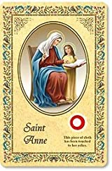 Laminated Saint Anne 3rd Class Relic Holy Card w Novena Printed in Italy