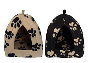 Igloo Pet Bed for Cats or Toy Breed Dogs (Caramel with Black Paw Prints)