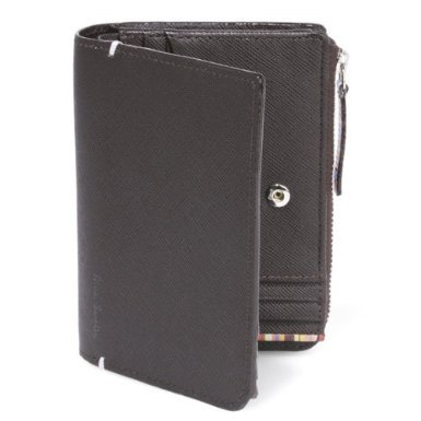 (ポールスミス) Paul Smith ジップストローグレイン 小銭入れ付き 二つ折り財布 D.ブラウン [並行輸入品]