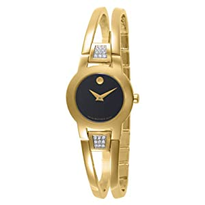 Movado Women's 604984 Amorosa Gold-Plated Diamond Accented Bangle Bracelet Watch by Movado