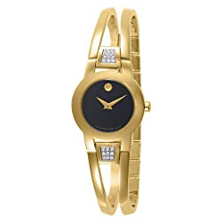 Movado Women's 604984 Amorosa Gold-Plated Diamond Accented Bangle Bracelet Watch