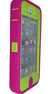iphone 5s case, OKASE (TM) iPhone 5 / 5s Durable Protective Hybrid Heavy Duty Armor Cover Shockproof / Dustproof Case - built-in Screen Protector ( Original User Friendly Packaging) - Pink on Green