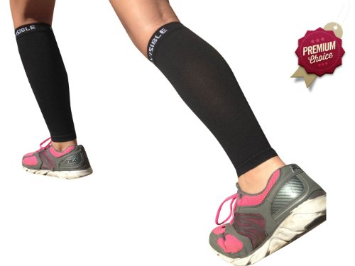 Calf Compression Sleeve - BeVisible Sports Men and Women's Leg Compression Sleeves - True Graduated Compression - Calf Guard Shin Splints Sleeves - Great for Basketball, Running, Baseball, Walking, Cycling, Training and Travel - Boosts Circulation - Aids Faster Recovery - 1 Pair - Black - Satisfaction Guaranteed