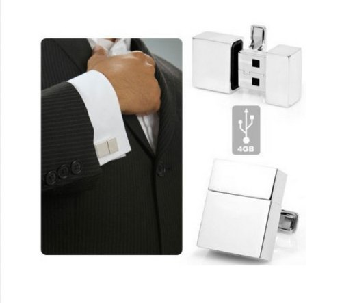 4GB USB Flash Drive USB Silver Cufflinks Cuff Links