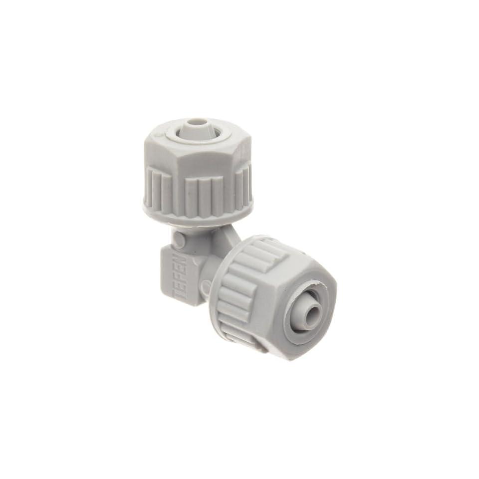 Tefen Fiberglass Polypropylene Compression Tube Fitting, 90 Degree Elbow, Gray, 1/4 Tube OD (Pack of 5)