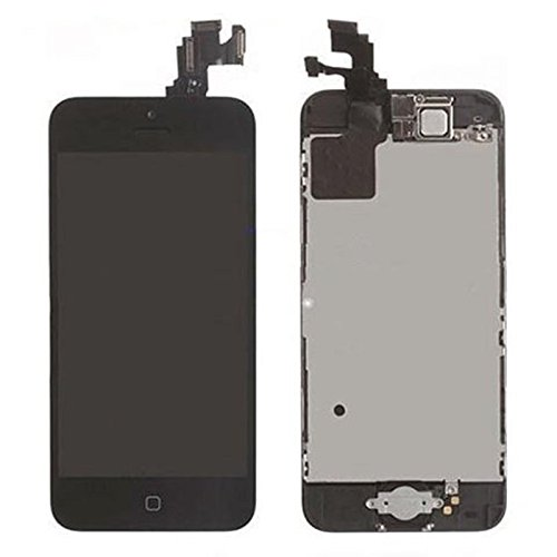 Oem New For Iphone 5 5S 5C Replacement Complete Front Housing Lcd Display Touch Screen Digitizer Assembly + Front Camera + Earpiece Speaker + Mid Board+ Home Button Small Parts Pre-Assembled White/Black, Epacket Shipping (For Iphone 5S Black)