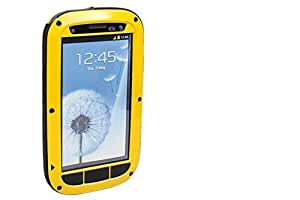 Aluminum Metal Gorilla Glass Shock Water Proof Case for Samsung Galaxy S3 I9300 (Yellow& Black& Silver)