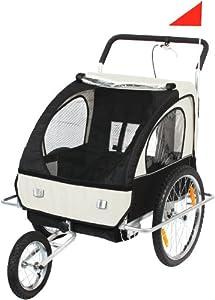 SAMAX / 56640013 Remorque buggy pour vélo/jogging Blanc/noir