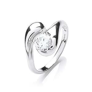 Rocio Illumini Alcor Rhodium Plated Silver White Swarovski Zirconia Stylish Solitaire Ring - Size S
