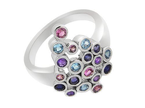 Silver Multi Gemstone Cocktail Ring