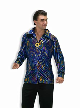 Forum Novelties Men's Plus-Size 70's Disco Plus Size Dynamite Dude Costume Shirt, Purple/Gold/Blue, X-Large