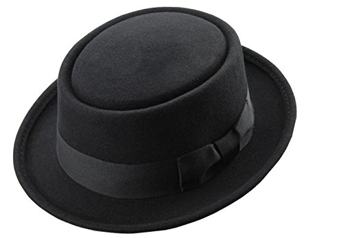 Men's Crushable Wool Felt PorkPie Fedora Hats Black DTHE09 (L/XL) (Men Pork Pie Hat compare prices)