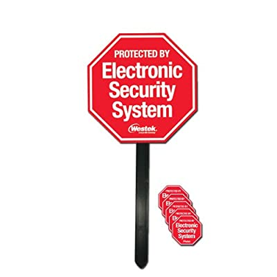 Westek SEC103 Outdoor Security Sign with Yard Stake and 5 Security Stickers