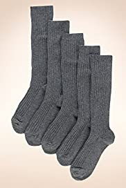 5 Pairs of Freshfeet&#8482; Cotton Rich Long Ribbed School Socks