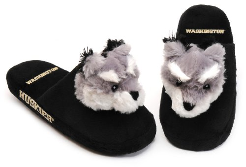 NCAA Washington Huskies Mascot Slippers, Black, Large