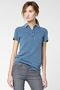 Short Sleeve Indigo Pique Polo With Woven Collar