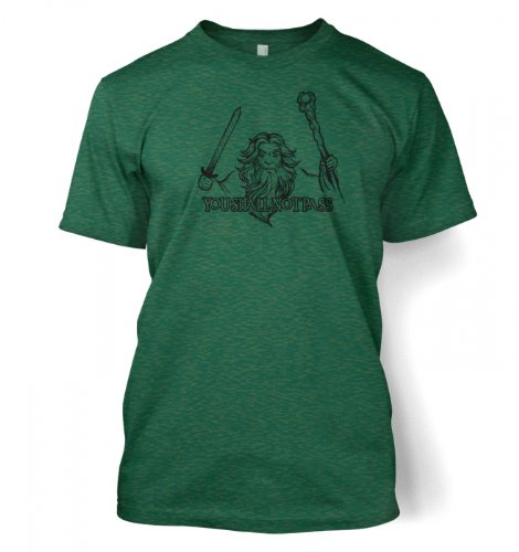 Gandalf You Shall Not Pass T Shirt Medium Antique Jade Dome
