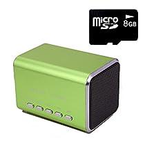 HDE Music Angel Portable Party Mini Speaker 150 Hz - 18000 Hz w/ Mini SD Card (Green)