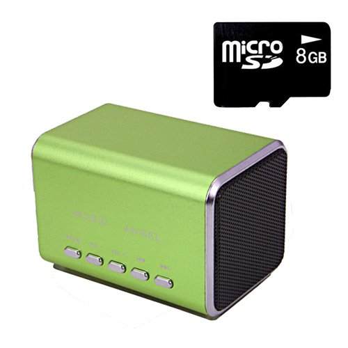 Hde Music Angel Portable Party Mini Speaker 150 Hz - 18000 Hz W/ Mini Sd Card (Green)