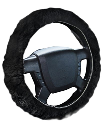 Zone Tech Luxurious Non-slip Car Decoration Steering Wheel Plush Cover - Black Authentic Sheepskin Thermal Steering Wheel Cover (Used Wheel Cover compare prices)