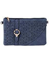 ToniQ Blue Floral Cut-Work Sling Bag For Girls,Women(Blue)