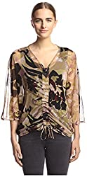 Vertigo Women's Printed Top with Drawstring, Wild Life, S