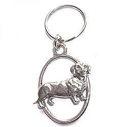 Silver Dachshund Dog English Pewter Keyring Handmade In England Key Ring  from RetailZone