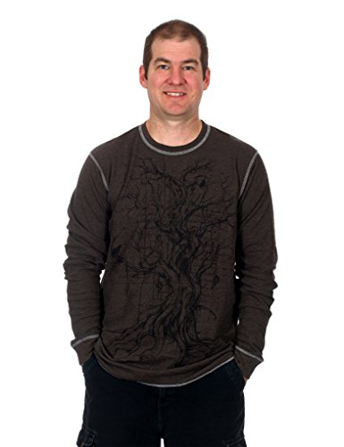 Men's Graphic Print Long Sleeve Thermal Style Shirt (Tree 2, X-Large)