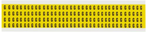 "Brady 1500-G Pressure Sensitive Vinyl (B-946), 1/4"" Black On Yellow 15 Series Indoor/Outdoor Numbers & Letters, Legend ""G"" (1 Card Per Package, 144 Stickers Per Card)"