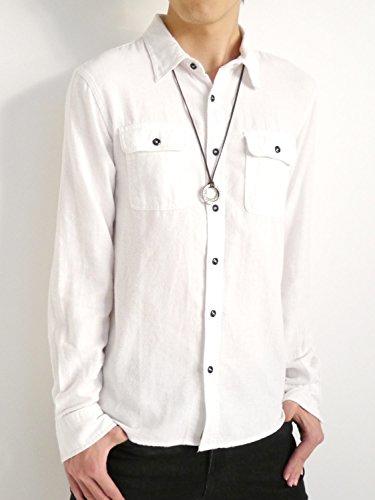 (オークランド) Oakland 起毛 フランネルシャツ シャツ 暖かい ボタンダウン オータム ウィンター 着回し モード 秋 冬 メンズホワイト Mサイズ