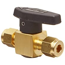 Parker 2Z-PR4-VT-B Brass Plug Valve, 1/8&#034; CPI Compression Fitting