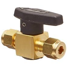 "Parker 2Z-PR4-VT-B Brass Plug Valve, 1/8"" CPI Compression Fitting"