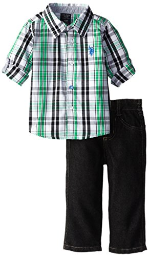 U.S. Polo Assn. Baby-Boys Infant Long Sleeve Sport Shirt And Jeans Set, Green, 12 Months